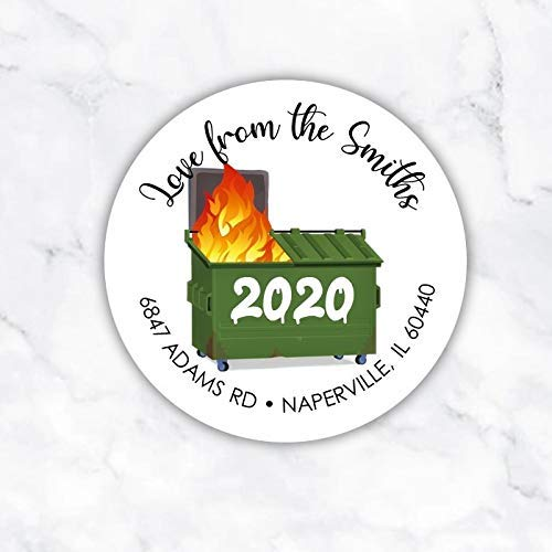 2020 Dumpster Funny Personalized Return Address Sticker Label Seals for Christmas Hanukkah Nonreligious Secular Holiday Cards Mail Packages