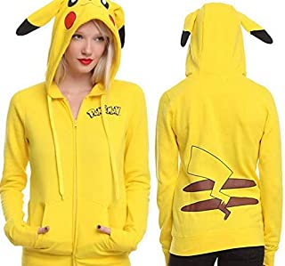 Yellow Cotton V Neck Hoodie & Sweatshirt For Girls