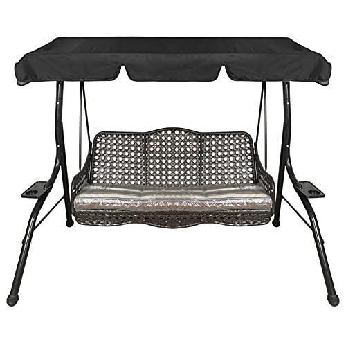 Ersatzdach für Hollywoodschaukel 3 Sitzer,Stoff für Wasserdichtes Hollywoodschaukeln Dach und Gartenschaukel Bezug für Hollywoodschaukel/Terrasse/Hängematte(Schwarz, 195 x 125 x 15 cm)