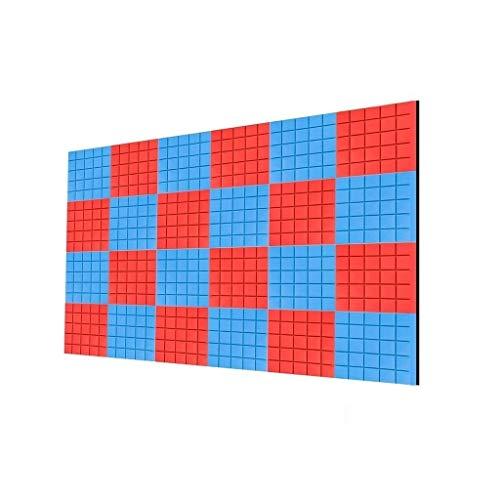 Anti-geluid Vierkant vlamvertragend geluiddempende Foam, blauw en rood 24PCS Soundproof Foam Duurzaam Gemakkelijk te akoestische panelen installeren huishoudproducten (Color : A)