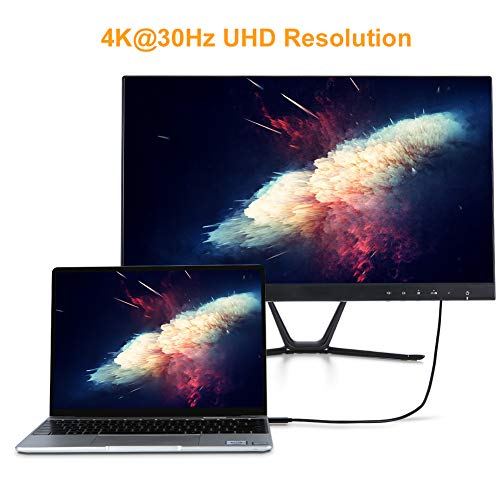 USB C to HDMI Cable for Home Office 6ft, CableCreation USB 3.1 Type C to HDMI 4K Thunderbolt 3 Compatible, Work withMacBook Pro/Air/iPad Pro 2020 2019, Surface Book 2, Dell XPS 15, Samsung S10/S9/S8