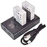 DSTE LP-E5 Batería Recargable (Paquete de 2) y Cargador USB Dual LED Inteligente compatibles con Canon EOS 450D 500D 1000D Kiss F X2 X3 Rebel XS XSi