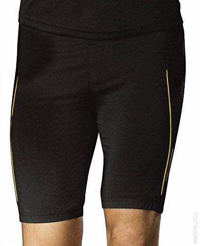 Crivit Sports Herren Laufhose kurz Jogginghose Trainingshose Laufshorts Sporthose Fitnesshose (Schwarz/Gelb, M (48/50))