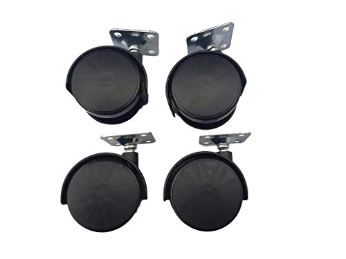 (Packung mit 4 Stück) Kleine Kunststoff-Doppelrollen, drehbar, 40 mm, mit Metallplatte, für Möbel, Geräte, Ausrüstung, Mini-Rollen-Set
