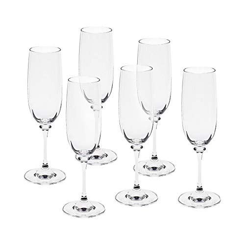 CRISTALICA 6 pièces Verre à Champagne flûte à Champagne Verre à Champagne Condor 190 ML Verre en Cristal Transparent 21 cm
