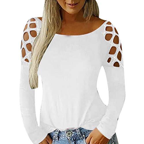 Tashioning Camiseta De Manga Cruzada con Inserción Encaje Cruzado Gótico para Mujer Talla Grande Larga Hombro Frío Blusas Cuello Redondo Top Otoño Camisa