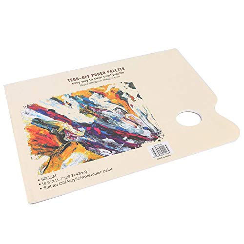 DEWIN Paleta de Papel desechable A3 Tear Off, Papel a Juego de Color, Papel de Mezcla de aguada de Pintura de Acuarela para Estudiantes Artistas