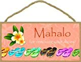 SJT ENTERPRISES, INC. Mahalo for Taking Your Shoes Off (with Tropical Flower) 5' x 10' Wood Plaque Sign (SJT13122)