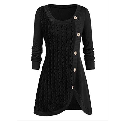 Meclelin Damen Strickkleid Strickjacke Langarm Knielang Pullover Business Formal Kleider Elegante Casual Vintage O-Ausschnitt Kleid