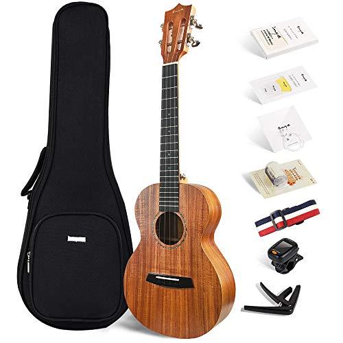 Official Enya EUT-70 Tenor ukulele KOA Wood Ukulele with Online Lessons,String, Tuner, Strap,Fingershaker,Gig bag,Capo,Picks,Polishing cloth (Tenor)