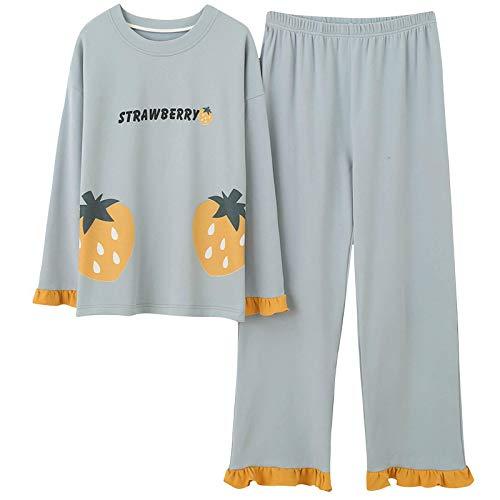 Pyjama Damen Nachthemd Schlafanzug Frauen Pyjamas Sets Herbst Winter Frauen Pyjamas Baumwolle Kleidung Lange Tops Set Weibliche Pyjamas Sets Lady Sleep M B2278 Pyjamas