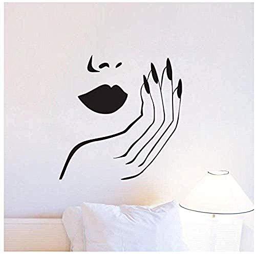 Muurstickers muurschilderingen Decals Nagels voor Slaapkamer Meisjes DIY Thuis Sexy Vrouw Manicure Salon voor Window56X57cm