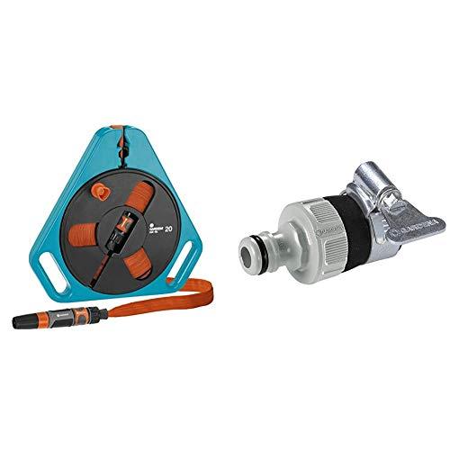 Gardena Classic roll-fix Flachschlauch 20 mit Kassette: Platzsparende Schlauchkassette & Wasserdieb: Universal Wasserhahn-Adapter zum Anschluss des Gardena Gartenschlauchs an einen Wasserhahn