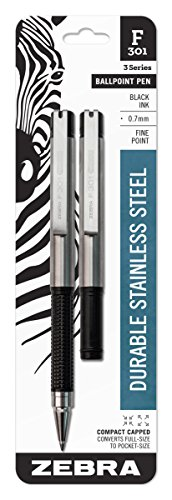 Zebra F-301 Compact Ballpoint Stainless Steel Retractable Pen, Fine Point, 0.7mm, Black Ink, 2-Count