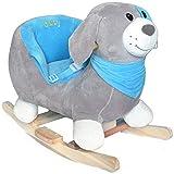 Schaukeltier Schaukelpferd Babyschaukel Plüsch Hund Rocky mit Sicherheitssitz ab 12