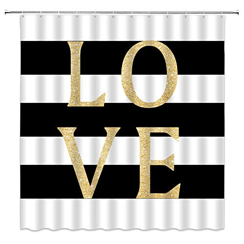 AMHNF Black and White Striped Shower Curtain Gold Romance Quote Love Classic Geometric Stripe Creative Lover Sign Art Home Bathroom Decor Fabric Curtain with 12 Hooks,70x70 Inch
