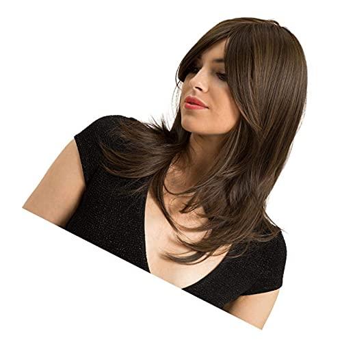 Pelucas 18 'Parte lateral sintética mediana larga larga pelucas rectas para mujeres, aspecto natural y resistente al calor, fiesta de disfraces de cosplay / pelucas de desgaste diario - marrón claro