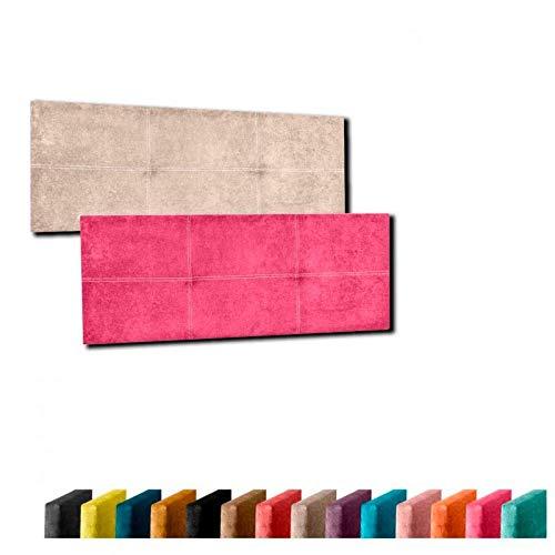 Cabecero de Cama Modelo Venecia tapizado en Tela Nido Aqualine Antimanchas y con diseño en Doble Costura. Altura 50 cm. Color Turquesa. para Cama de 105 (Medidas 115x50x5) Pro Elite.