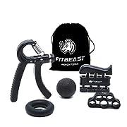 #LightningDeal FitBeast Hand Grip Strengthener Workout Kit (5 Pack) Forearm Grip Adjustable Resistance Hand Gripper, Finger Exerciser, Finger Stretcher, Grip Ring & Stress Relief Grip Ball for Athletes