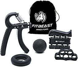 FitBeast Hand Grip Strengthener Workout Kit (5 Pack) Forearm Grip Adjustable Resistance Hand Gripper, Finger Exerciser, Finger Stretcher, Grip Ring & Stress Relief Grip Ball for Athletes (Black)