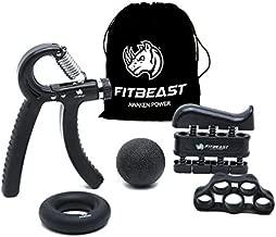 FitBeast Hand Grip Strengthener Workout Kit (5 Pack) Forearm Grip Adjustable Resistance Hand Gripper, Finger Exerciser, Finger Stretcher, Grip Ring & Stress Relief Grip Ball for Athletes (Black)
