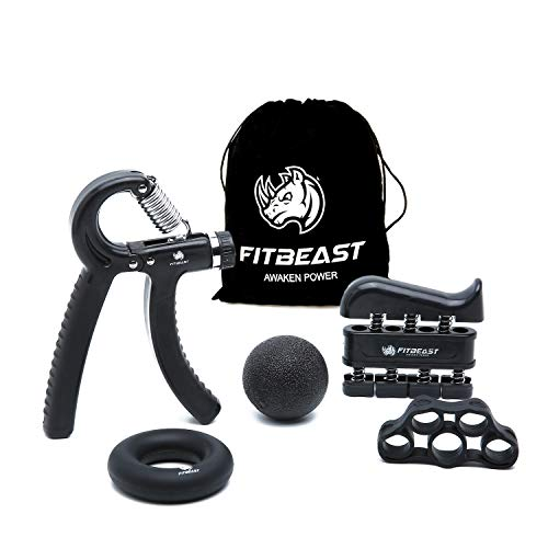 FitBeast Handtrainer zur Kraftsteigerung, Unterarmgriff Trainingsset - 5er-Pack, Verstellbarer Handtrainer, Finger Trainingsgerät, Fingerstretcher, Trainingsring & Stressabbau-Griffkugel für Sportler