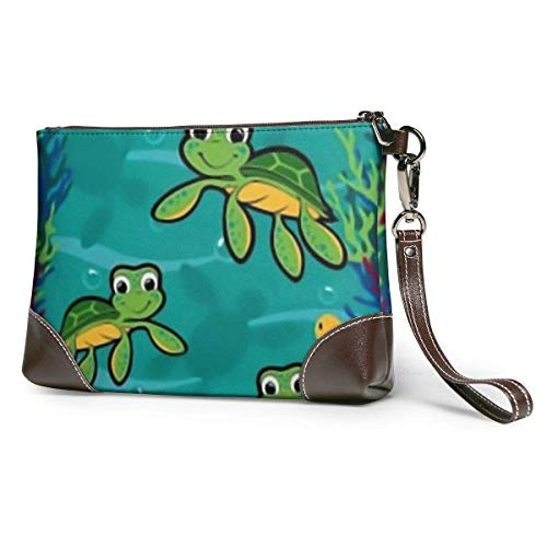 Ahdyr Hawaiian Baby Turtle.png Cartera de cuero Clutch Bag Bolsos con cremallera Monederos para mujeres Carteras de teléfono con ranuras para tarjetas con correa