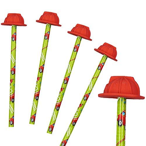 Neu: 4 Bleistifte * Feuerwehr * mit Radiergummi für Schule und Kindergarten   Stift Zeichnen Schreiben Kind Feuerwehrmann Helm Einschulung erster Schultag
