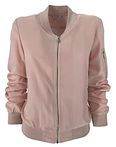 JOPHY & CO. Chaqueta Bomber de mujer con cremallera casual Outwear (cód. 2501 & 2515) Rosa Cód. 2501 M