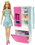 Barbie GHL84 - Deluxe-Set Möbel Kühlschrank und Puppe (blond)