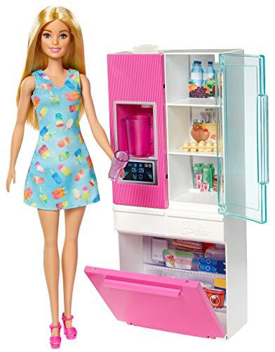 Barbie Mobilier Coffret poupée blonde et sa robe motif glaces, avec un réfrigérateur et son distributeur d'eau fonctionnel, jouet pour enfant, GHL84