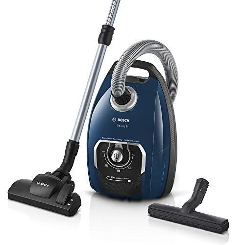 Bosch Staubsauger mit Beutel Serie 8 BGB75X494, Bodenstaubsauger, ideal für Allergiker, Hygiene-Filter, Bodendüse für Parkett, Teppich, Fliesen, langes Kabel, leise, 650 W, blau