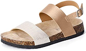 SANDALUP Women Cork Flat Sandals with Ankle Strap