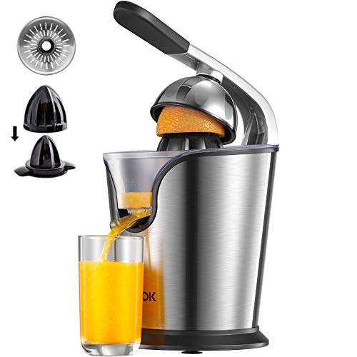 AICOK Orange Juicer Electric Citrus Juicer with Humanized Handle, Powerful 160W Silent Motor Stainless Steel BPA-Free, Two Size Cones for Grapefruits, Orange and Lemon, Silver