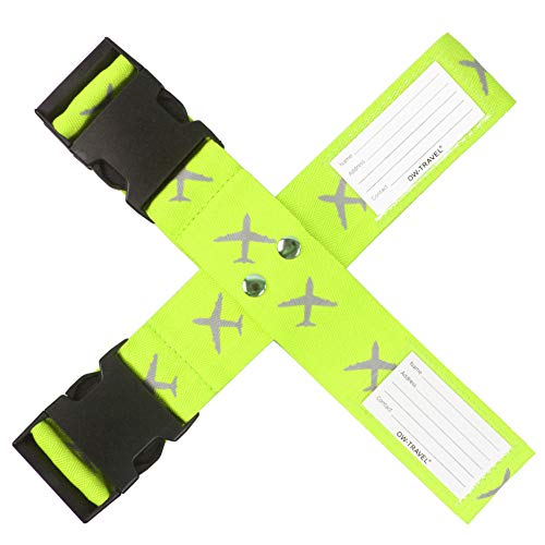 Personalised Luggage Cross Straps for Suitcases (1 Pack Yellow)OW-Travel Easy to Spot Sturdy Suitcase Straps with Luggage labels.Luggage Strap Travel Belt for Suitcase Bag Baggage.Bag Strap Case Belts
