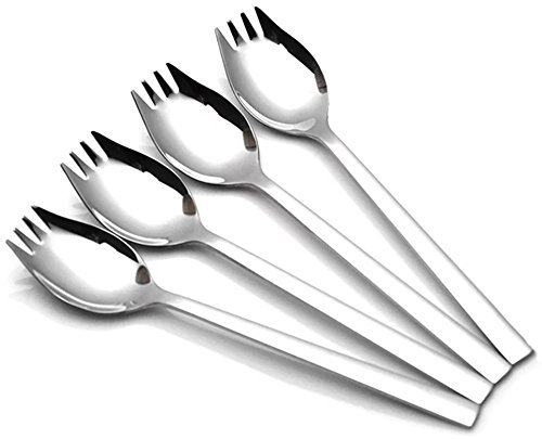 Xesea Sporks 4-pack 1.6-inch Wide 18/10 Stainless Steel Sporks Everyday Use, Camping Backpacking Utensils, Spaghetti Salad Dessert Heavy Duty Flatware Set, 8.2-inch / 1.9-ounce/(L)