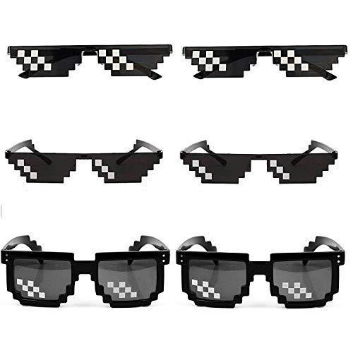 [6 Pack] Thug Life Sunglasses, Thuglife Glasses for Men Women Kids Photo Props 8 Bit Pixel Mosaic Glass Unisex Sunglass Toy - Black