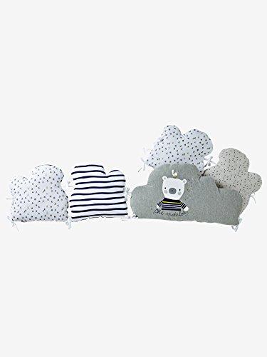 Vertbaudet Bettumrandung in Wolkenform grau/weiß 360X30