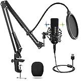 usb microfono, microfono professionale con supporto regolabile t20, set di microfoni a condensatore per pc laptop 192khz / 24bit, filtro anti-pop per registrazione, podcasting, home studio, youtube