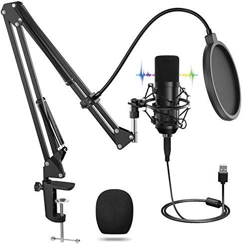 USB Micrófono, Micrófono Profesional con Soporte Ajustable T20, Juegos de Micrófonos de Condensador para Computadora Portátil de 192 kHZ / 24 bits, Filtro Pop para Grabación, Estudio en Casa, Youtube