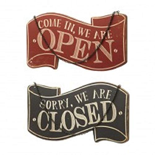 Come In, We Are Open / Sorry, We Are Closed Wooden Sign by