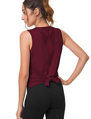 Bamans Camiseta sin Mangas Camisas para Mujer Deportiva Yoga Running Chaleco para Entrenamiento Fitness Tops (Burdeos,Medium)