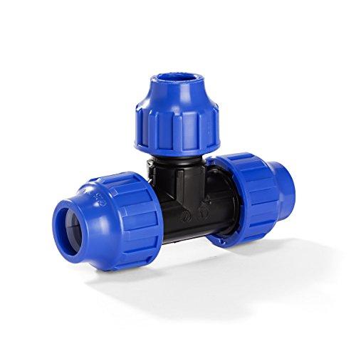 H2O-Flex PP-Fitting, Klemmverbinder - 32er T-Stück reduziert für PE-Rohr, 32-25 - 32 mm, DVGW