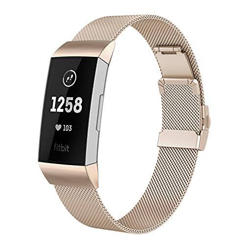 DEDIMENS - Correas de metal compatibles con Fitbit Charge 4 Fitbit Charge 3, correa de acero inoxidable, para Fitbit Charge 4 3, para hombre y mujer, tamaño pequeño, negro, plateado, oro rosa,