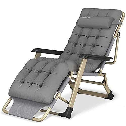 Reclining Chair Folding Zero Gravity Lounge Chair, Deck Chairs Cotton Cushion, for Garden Outdoor Patio Sun Loungers Bed Recliner Loading Up To 300Kg with Head Pillow, Oversize XL