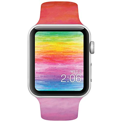 Watchitude Watch Band, Compatible with Apple Watch, Watercolors - 42mm Wristband, Strong Watchband, Safe Silicone Strap, Collectible, Iwatch Bands, Sport Watches, Straps for Women and Men, Kids