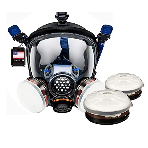 PT-100 Organic Vapor Full Face Respirator with Extra Set of P-A-1 Filters (4 total filters included) - ASTM Tested