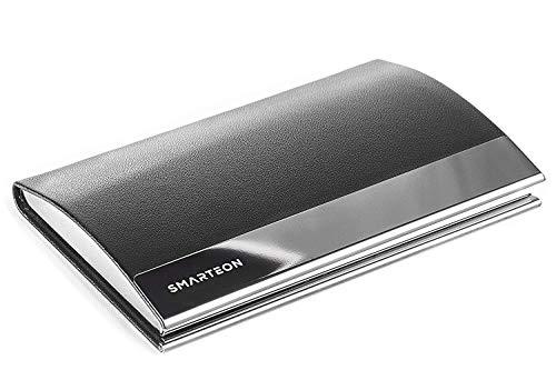 SMARTEON | Visitenkarten-Etuis schwarz | Premium Kartenetui zur professionellen Aufbewahrung Ihrer Karten | Hochwertiger Visitenkartenhalter inkl. Geschenkbox