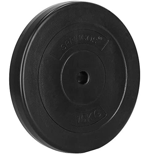 SPRINGOS – Discos de pesas, pesas, con orificio de 31mm, betún, sólidos, duraderos y robustos, Negro 15kg