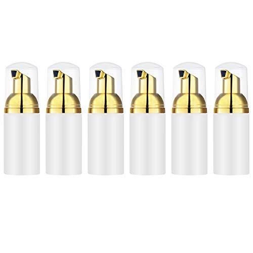 Toureal 6 Piezas 30ml Bomba Dispensador de Jabón Espuma, Rellenables Botella de Espuma, Dispensador Jabon Mousse para Lavar a Mano, Cocina, Baño (Oro)